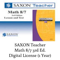 Saxon Teacher Math 8/7 Digital License.